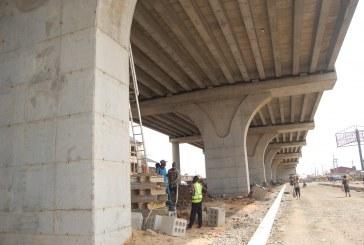 Ongoing construction of Pencinema Bridge, Agege linking Oke-koto and Abule-Egba in Lagos.