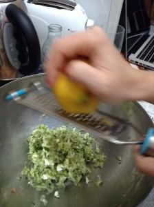 lemon zesting courgette fritters