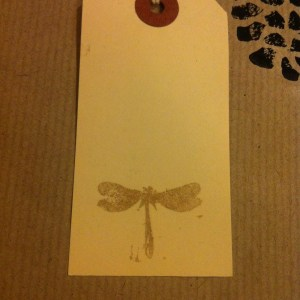 handprinted dragonfly print luggage labels
