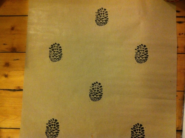 pine cone design wrapping paper handprinted