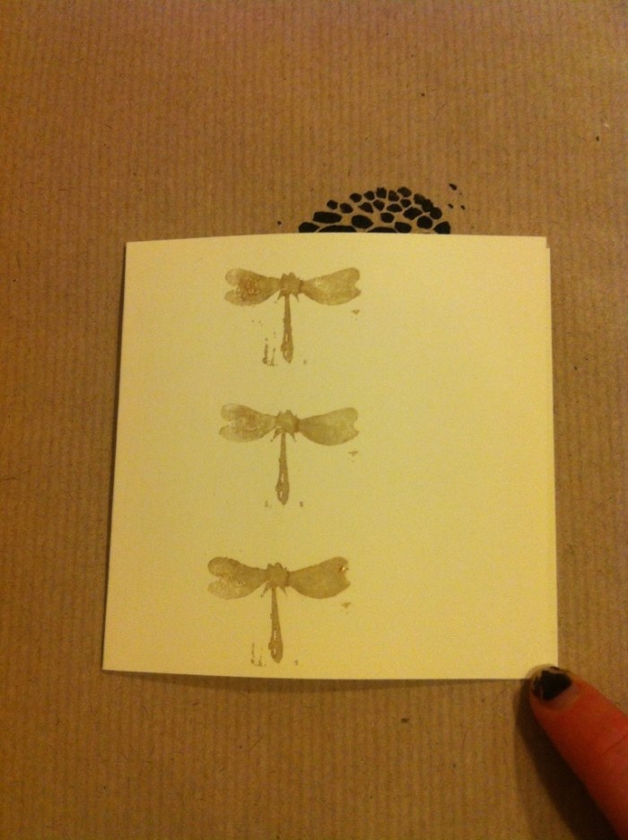 3 golden dragonfly print handmade christmas cards