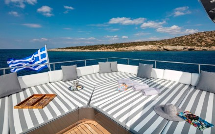 Luxury yacht greece flag
