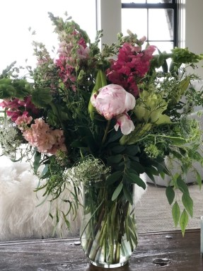 snapdragons and peonies