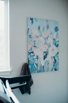 I loved the roses on this big canvas print and all the colors can be found outside the window and in the room. Another $40 Home Sense Find