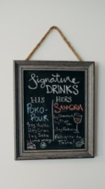 20$ Chalkboard sign to change up the seasonal signature drink