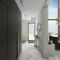3-neutral-beige-and-gray-colors-corridor-interior-design-in-contemporary-style-white-marble-floor-tiles-panoramic-windows-sea-view-wooden-planked-door-herringbone-pattern