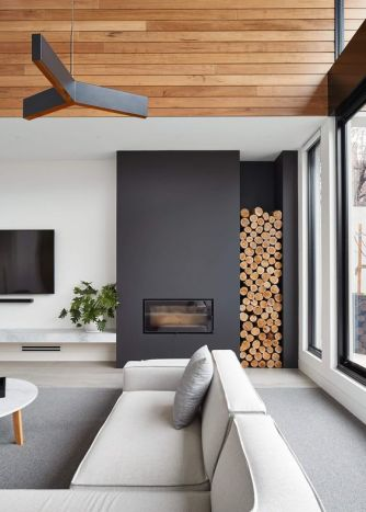 "With a bit of planning ahead this is easy to achieve- drywall a box for your electric fireplace and a ""cubby"" for your logs...awesome mountian/mod look. Shout out to the feature ceiling treatment that ties in the wood logs."
