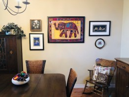 Micheals custom framed her elephant tapestry as well as two painted silk pieces, we left room for new memories to be added