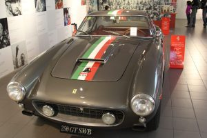 classic grey ferrari with stripes, Ferrari Museum, www.theeducationaltourist.com