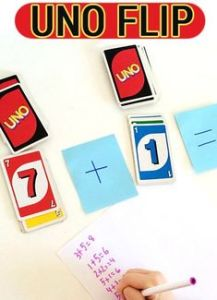 Uno Flip game photo from Childhood 101, Practice Academic Skills while Traveling, www.theeducationaltourist.com