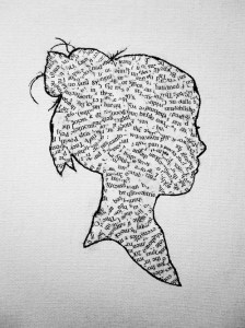 girls silhouette with words
