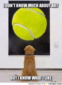 dog looking at tennis ball art in art gallery - photo from Frabz.com,
