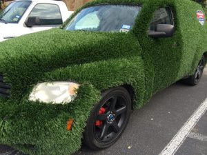 Car covered in astroturf, Unusual Cars, www.theeducationaltourist.com