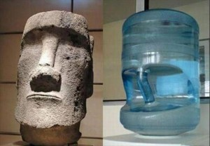 Easter island statue head next to water cooler. photo from http://www.aref-adib.com/archives/2007_06.html