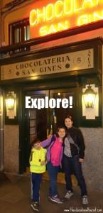 family in Madrid near chocolateria san gines, travel myths