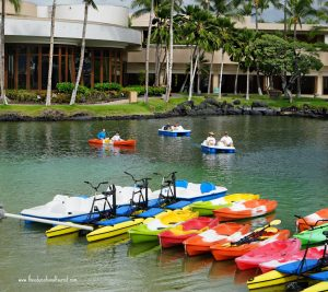 colorful paddle boats and canoes, Hilton Waikaloa Village, www.theeducationaltourist.com