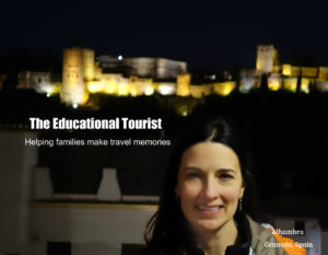 The Educational Tourist in front of Alhambra at night, Hotel Europa, www.theeducationaltourist.com