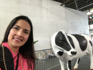 The Educational Tourist and Chick Fil A cow, Mardi Gras World, www.theeducationaltourist.com