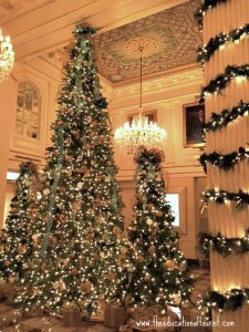 Decorated Christmas trees in lobby of New Orleans' Hotel Monteleone, New Orleans Christmas decorations, www.theeducationaltourist.com