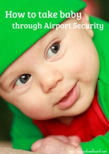 Smiling infant wearing a green hat, Airport security with an Infant, www.theeducationaltourist.com