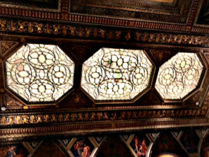 stained glass in the ceiling of Morgan library, Morgan Library, NYC - Visit with KIDS, www.theeducationaltourist.com