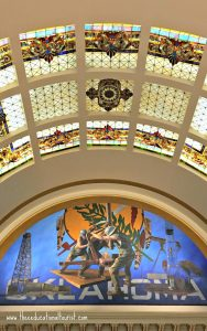 stained glass windows and art in OK state capitol, OK State Capitol Building - Visit with KIDS, www.theeducationaltourist.com