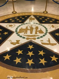 OK state seal on the floor, OK State Capitol Building - Visit with KIDS, www.theeducationaltourist.com