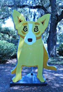 the blue dog - but yellow! NOMA Sculpture Park