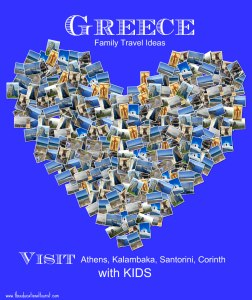 collage of photos of Greece in shape of a heart