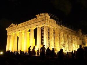 Parthenon in Athens at night, trips to greece