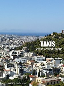 View of Athens that says Taxi Getting Around Athens