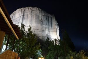 Meteora rocks at night