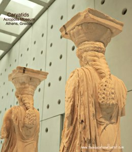 back of caryatid statues in Acropolis museum in Athens, Greece