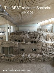 ancient ruins of akrotiri in Santorini, Greece says Sights in Sanorini with kids