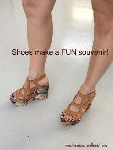 woman's legs wearing high heeled sandals : Shoes make a fun souvenir