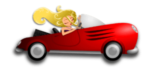 cartoon of blonde woman with long hair in a convertible red car