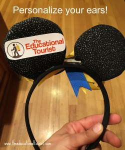 Mickey Mouse ears on a headband with The Educational Tourist label on the back of ear