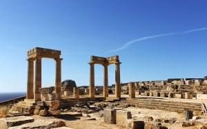 Lindos ruins in Rhodes