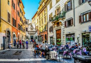 outdoor Cafe on a Rome street, 5 day Rome Itinerary