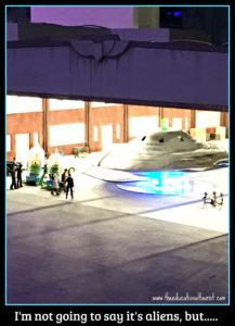 aliens in airplane hanger world in miniature Gullivers gate