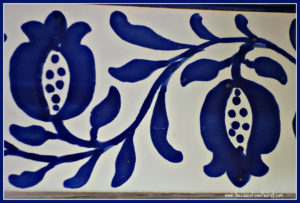 blue pomegranate on tile seville spain