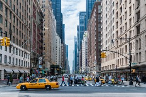 downtown on a large city sidewalk, photography tips for families