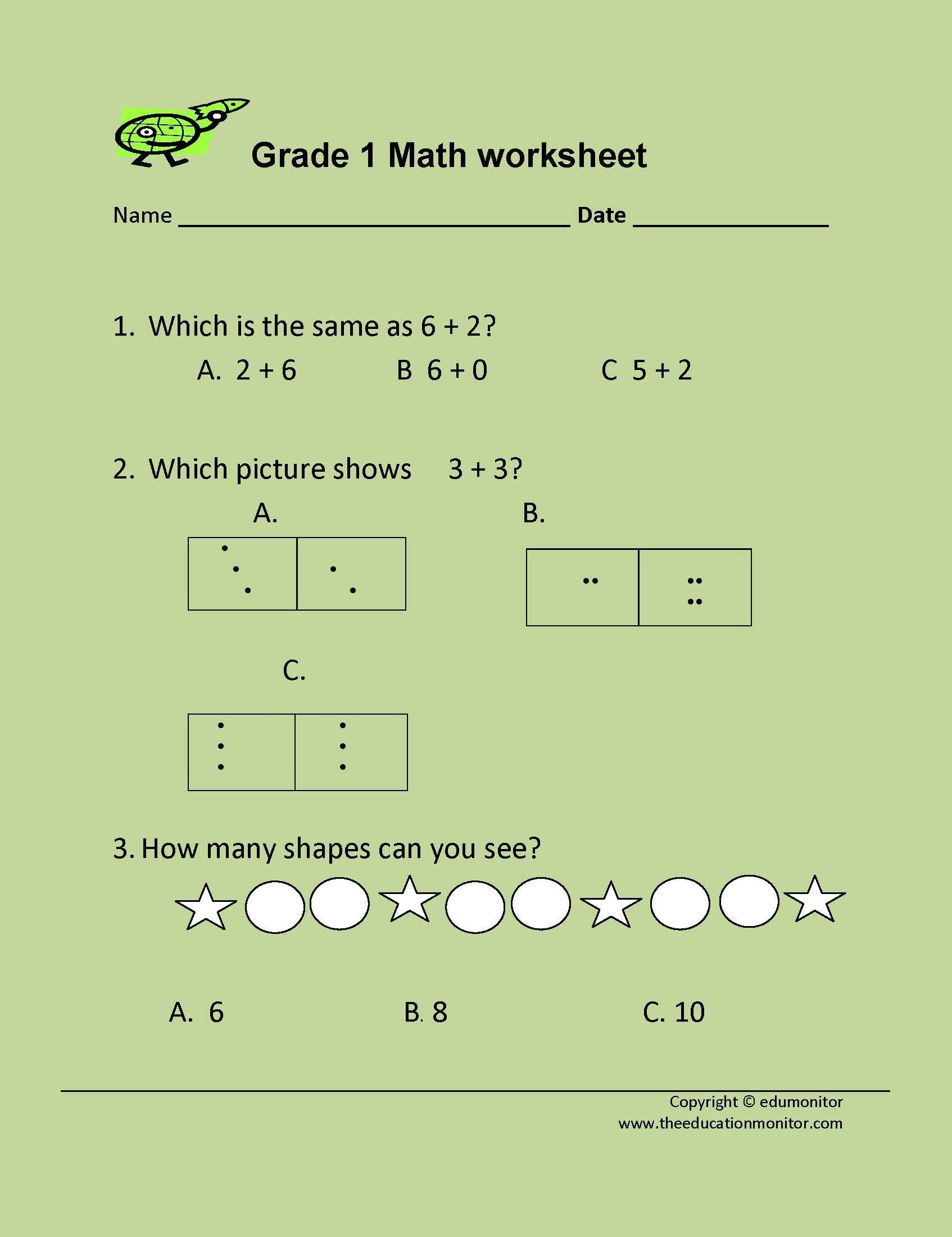 Math Printable Worksheets 1st Grade For Kids