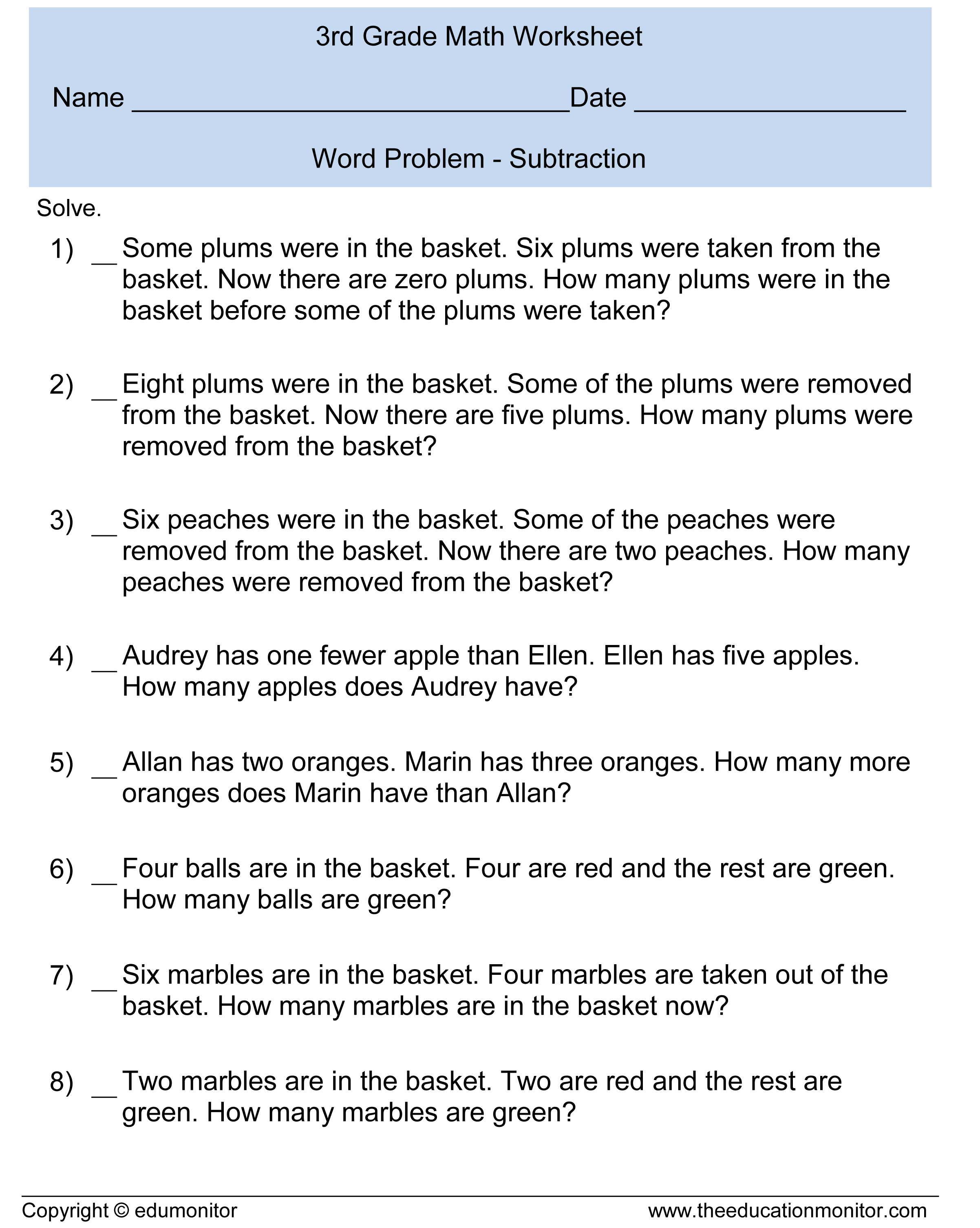 Word Problem Solving For 3rd Graders