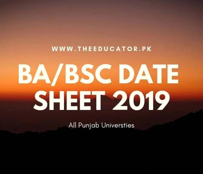 BA/BSc Date Sheet 2019-All Punjab University