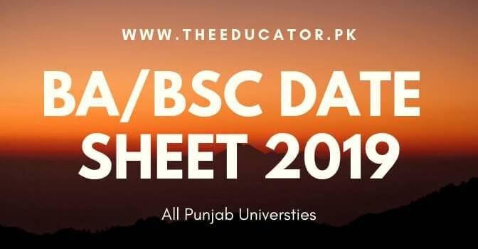 ba bsc supplementary date sheet 2019