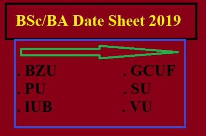 BA/BSc Date Sheet 2019-All Punjab University
