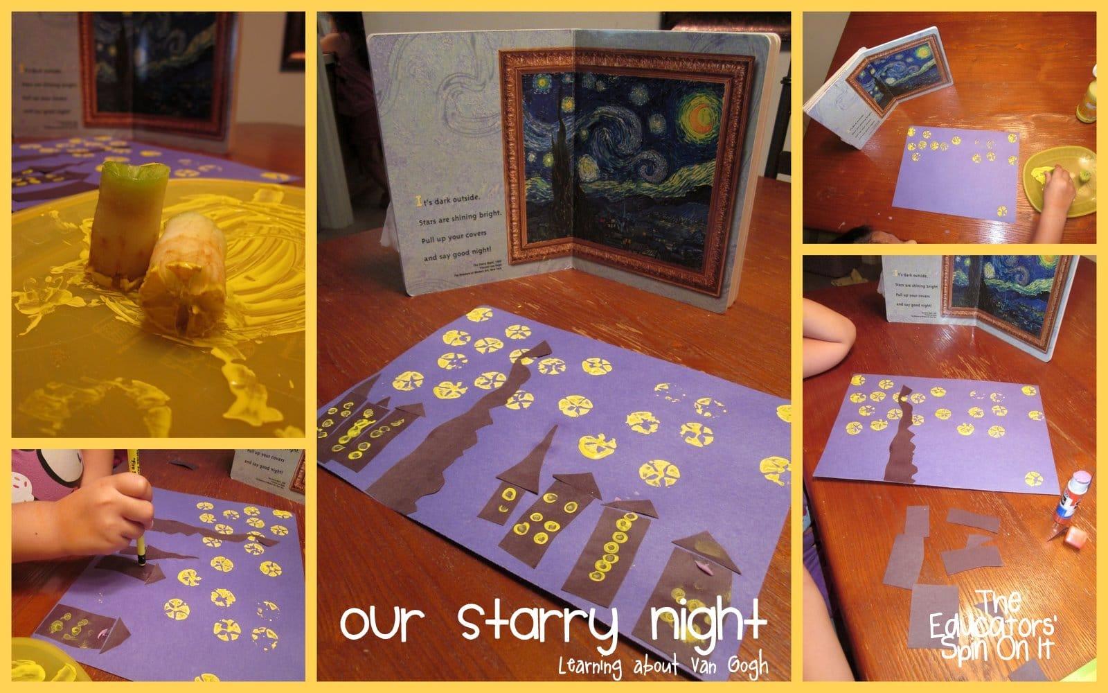 Apple Star Prints To Create Starry Night By Van Gogh