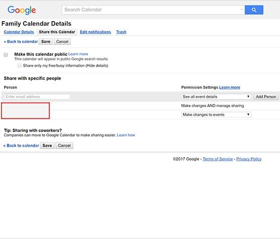 Google Calendar Permissions
