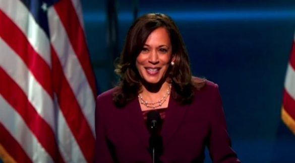 IMAGE COURTESY/ THAT GRAPE JUICE. Kamala Harris giving out her speech while accepting the Vice President Nomination on Wednesday night.